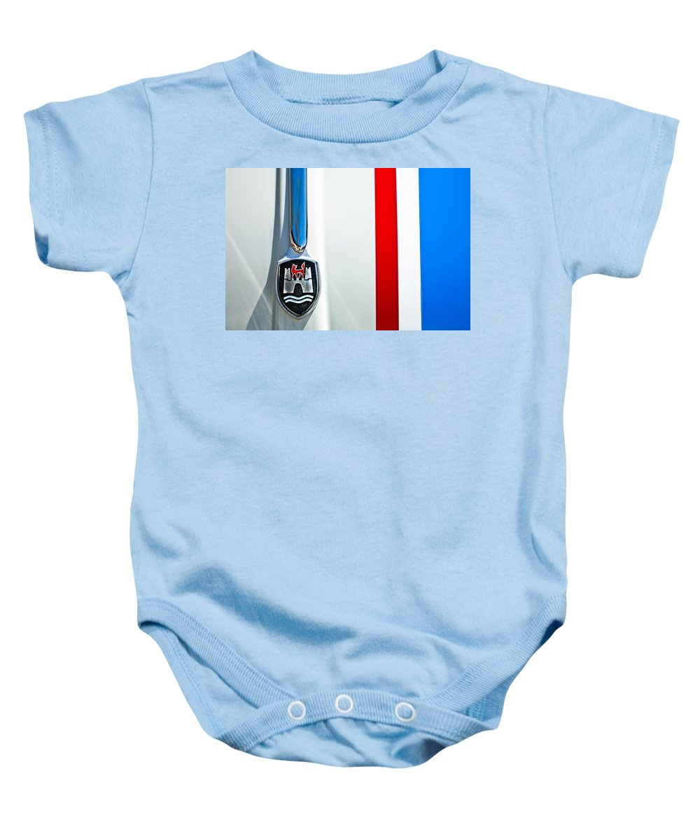 Volkswagen Vw Baby Onesie featuring the photograph Volkswagen Vw Hood Emblem 3 by Jill Reger