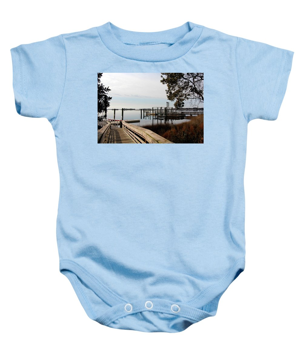 Paddle Boat Baby Onesie featuring the photograph Walk Way To Adventrue by Rand Wall