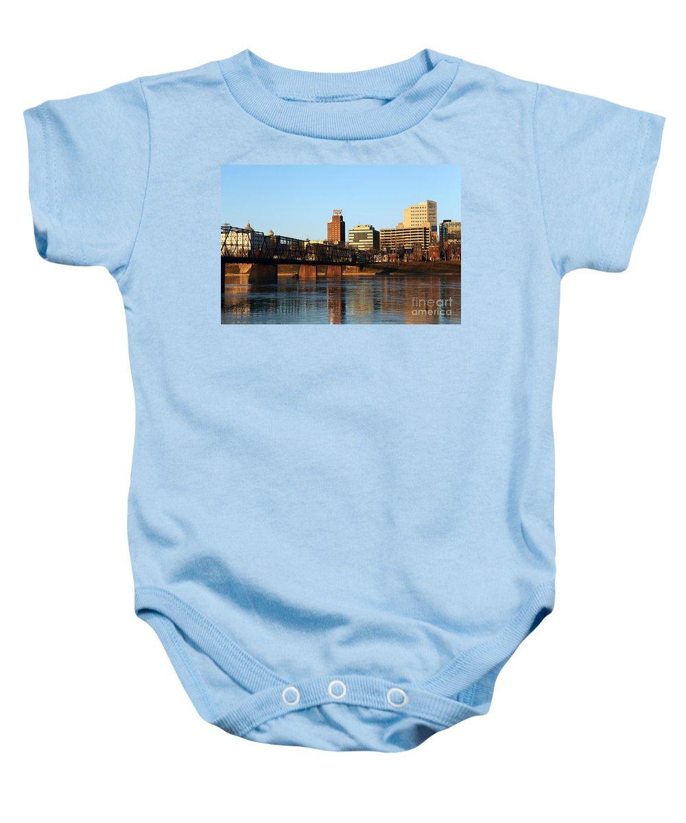 Harrisburg Baby Onesie featuring the photograph Walnut Street Bridge Harrisburg Pennsylvania by Bill Cobb