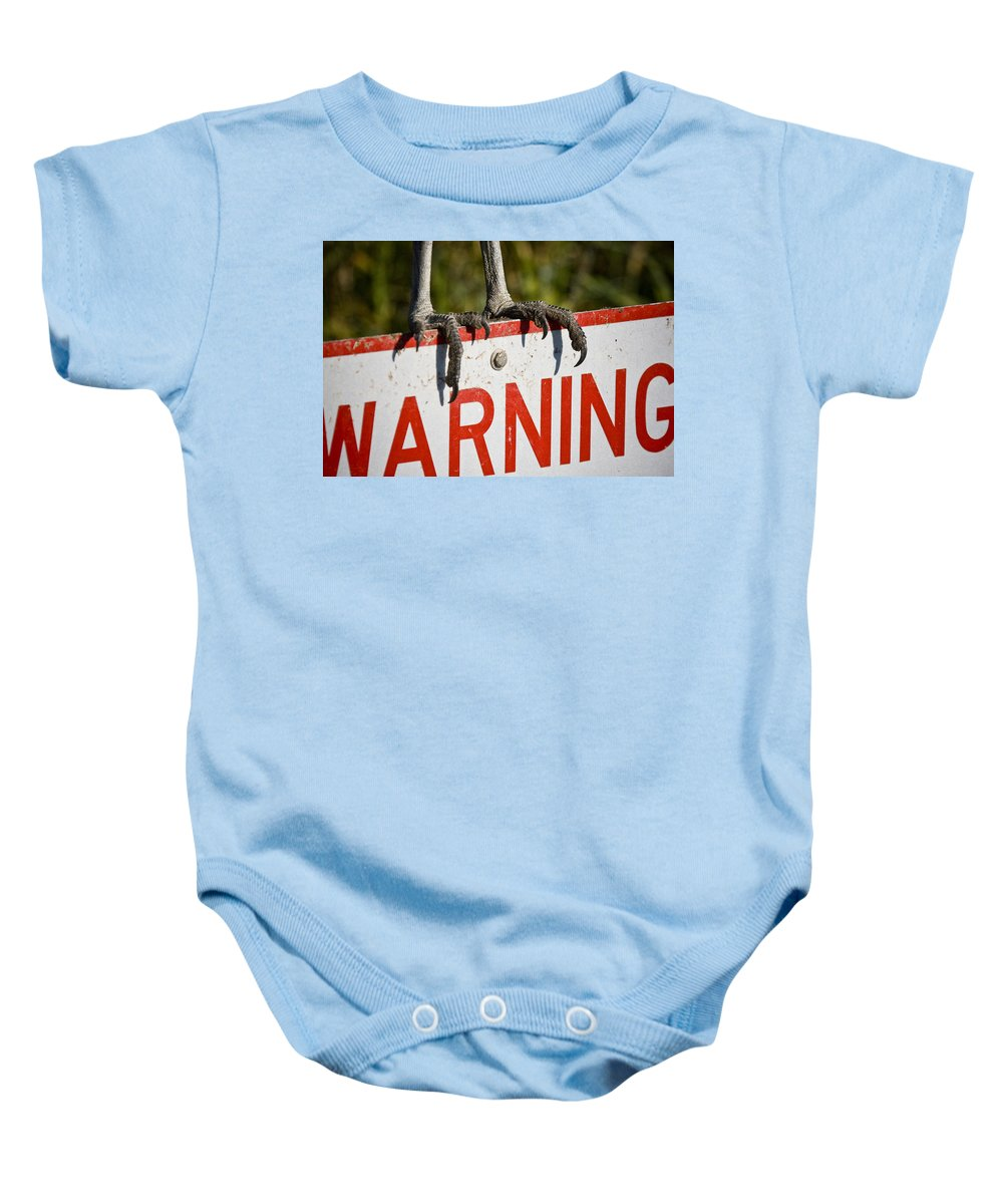 Warning Baby Onesie featuring the photograph Warning by Sandy Swanson