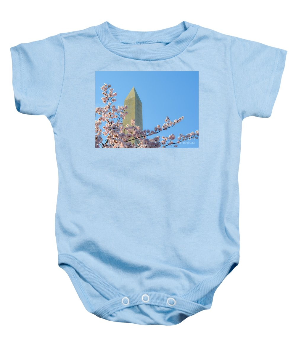 2012 Centennial Celebration Baby Onesie featuring the photograph Washington Monument With Blossoms by Jeff at JSJ Photography