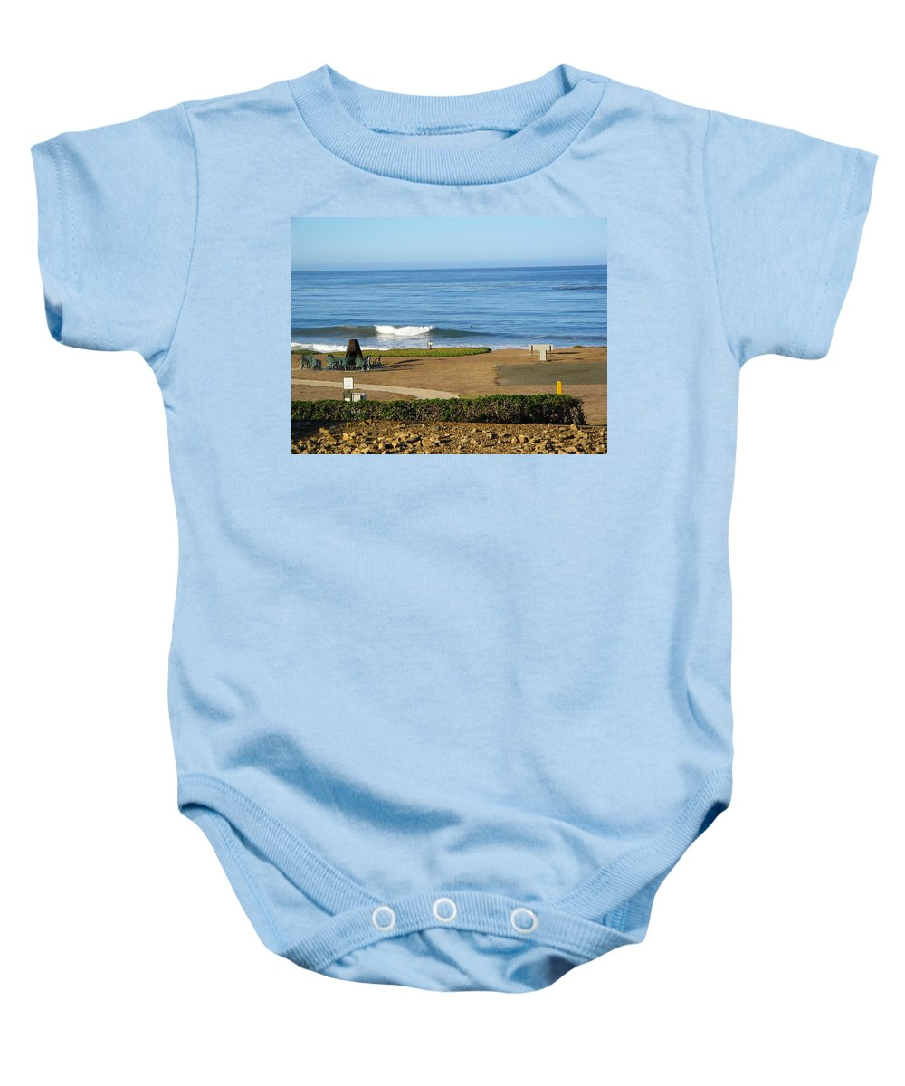 California Baby Onesie featuring the photograph Wave Upon San Simeon Shore by Denise Mazzocco