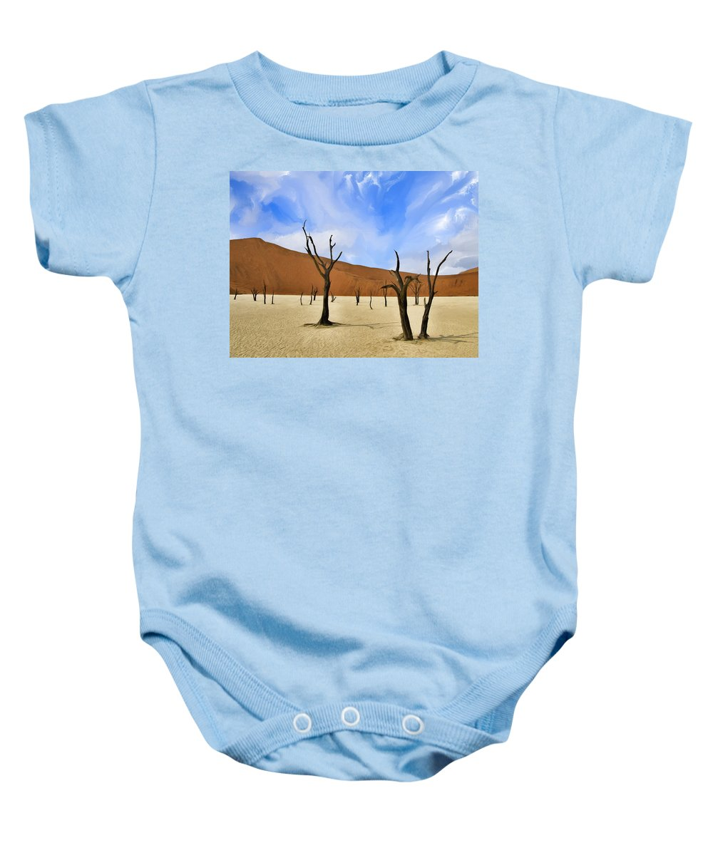 Dead Trees Baby Onesie featuring the painting We Who Wait by Dominic Piperata
