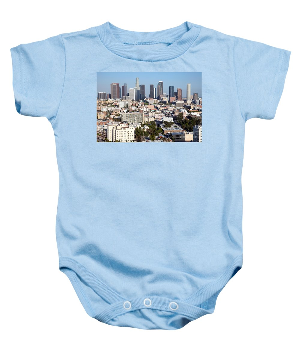 Los Angeles Baby Onesie featuring the photograph Westlake And Los Angeles Skyline by Bill Cobb