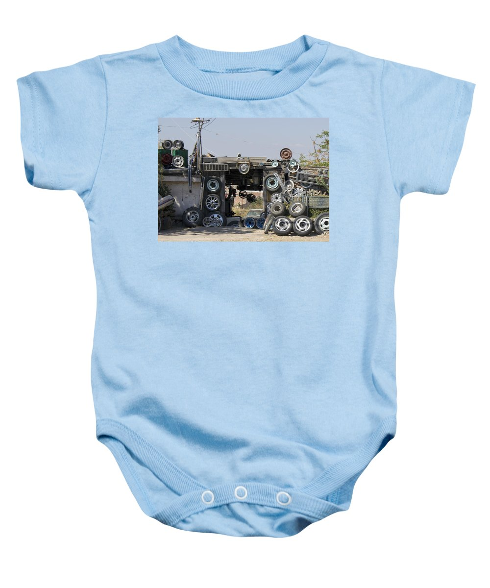 Baby Onesie featuring the photograph Wheels For Sale Mexico by Cathy Anderson