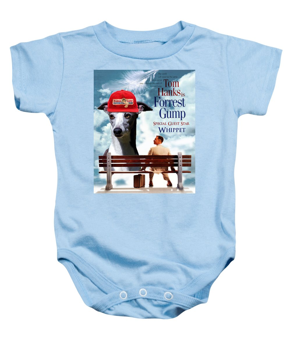Whippet Baby Onesie featuring the painting Whippet Art - Forrest Gump Movie Poster by Sandra Sij