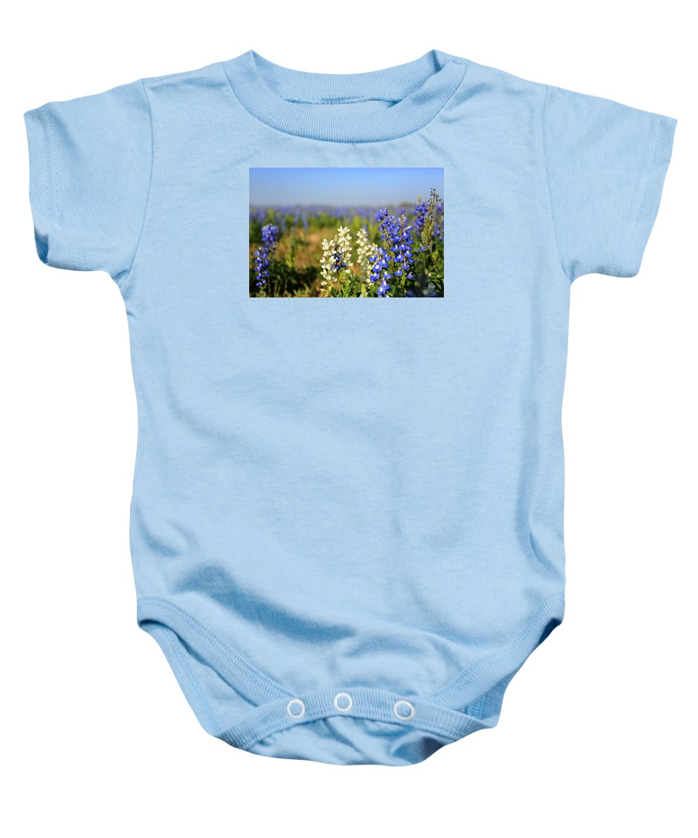 Bluebonnets Baby Onesie featuring the photograph White Bluebonnets by Lisa Reid