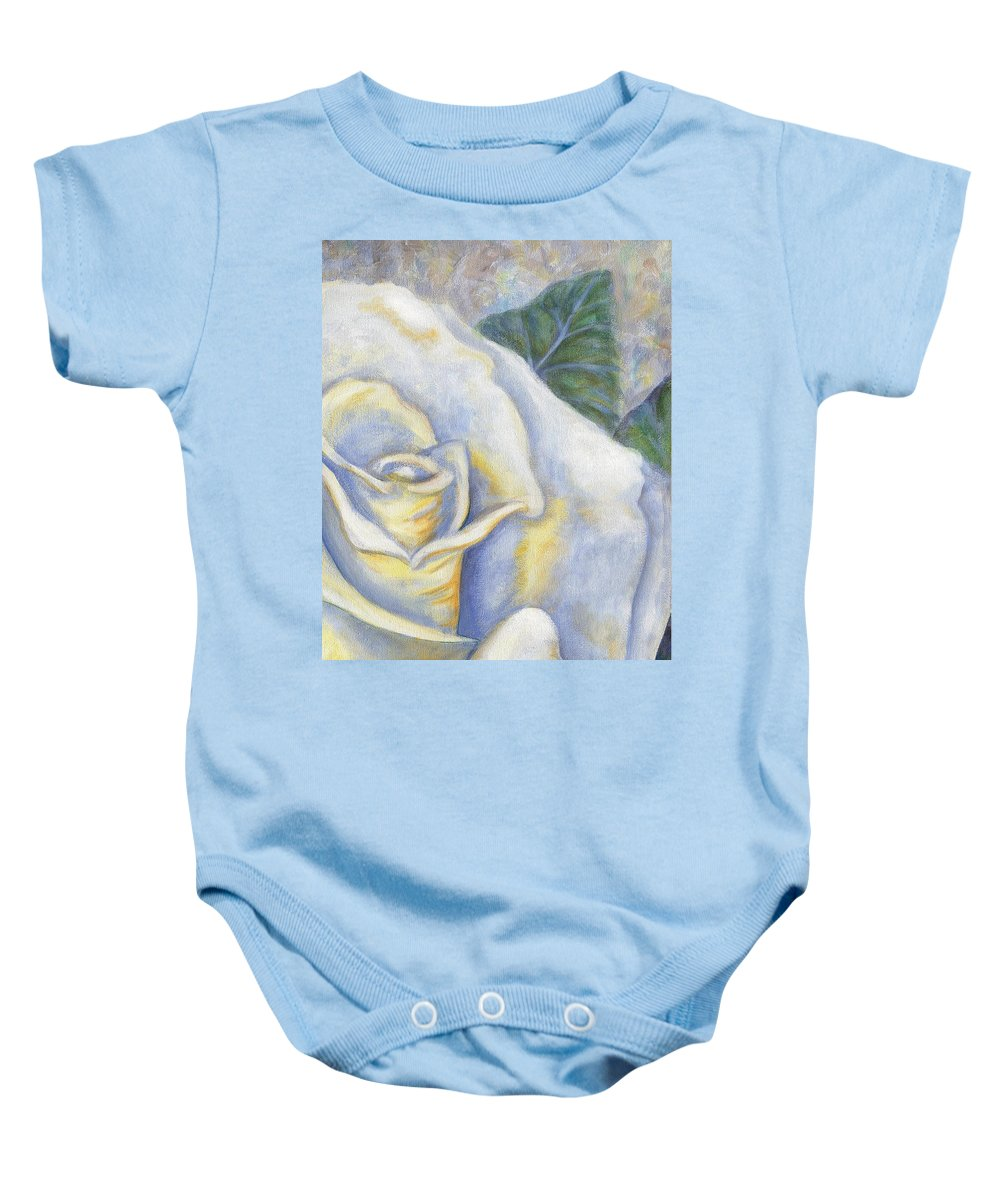 White Rose Baby Onesie featuring the painting White Rose Two Panel Two Of Four by Linda Mears