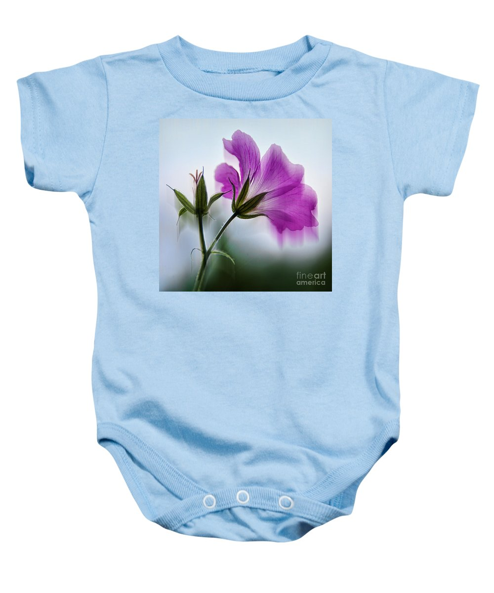Topaz Filters Baby Onesie featuring the photograph Wild Geranium Abstract by Susie Peek