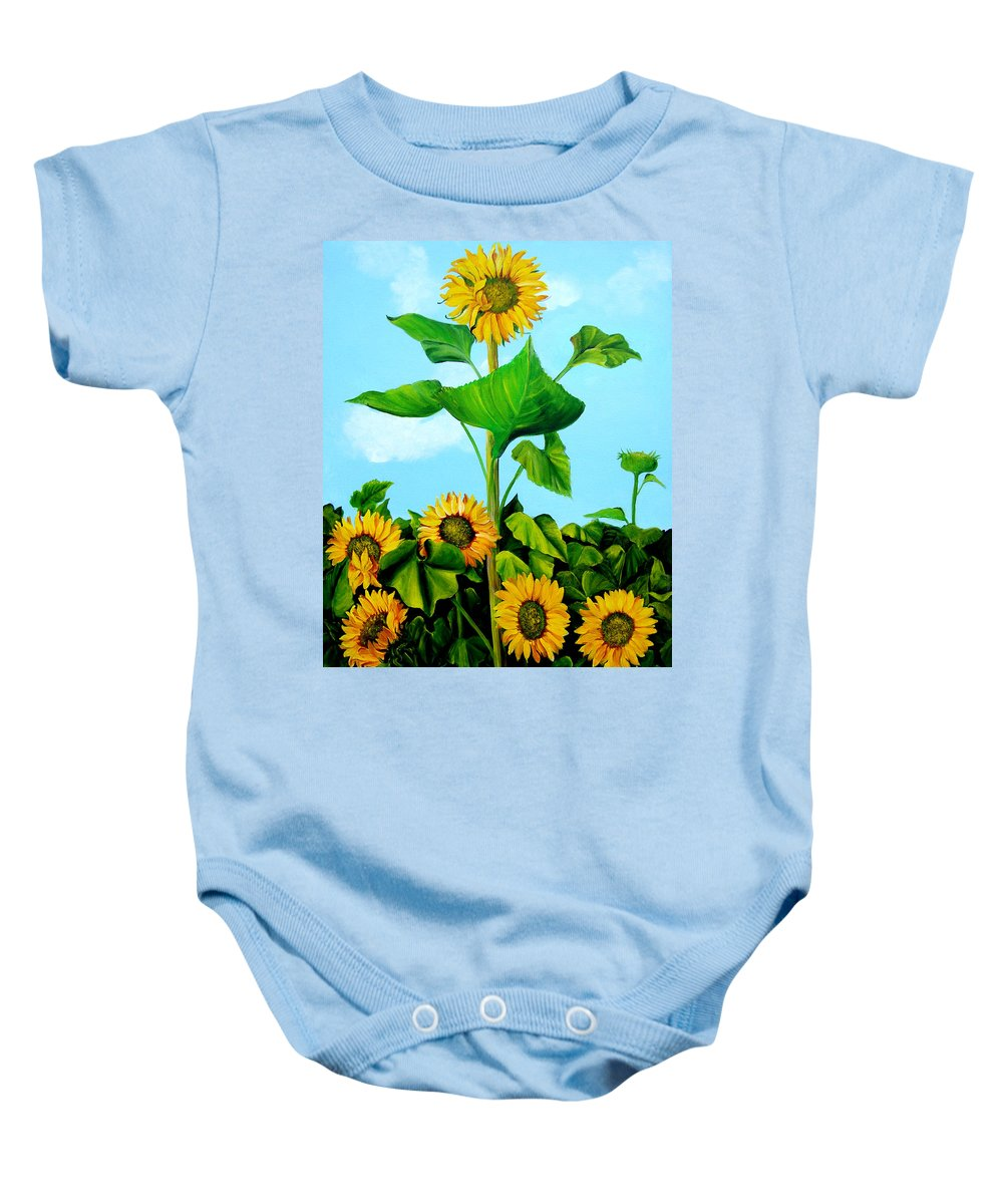 Cuba Baby Onesie featuring the painting Wild Sunflowers by Dominica Alcantara