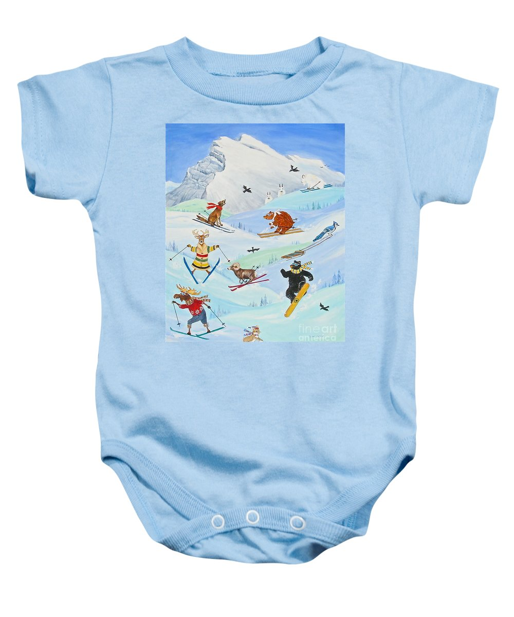 Fun Animal Paintings Baby Onesie featuring the painting Wildlife Freestyle by Virginia Ann Hemingson