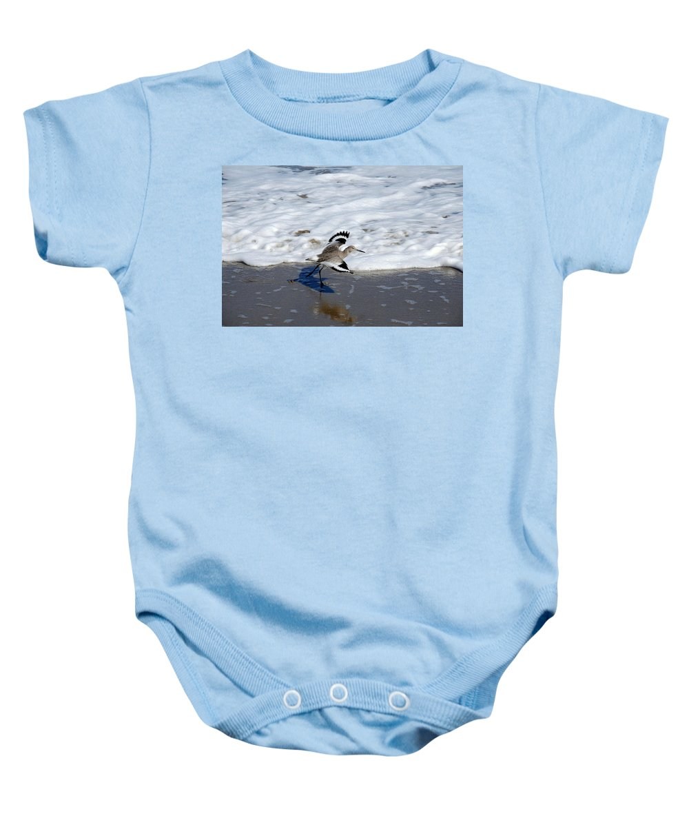 Sandpiper Baby Onesie featuring the photograph Willet 001 by Larry Ward