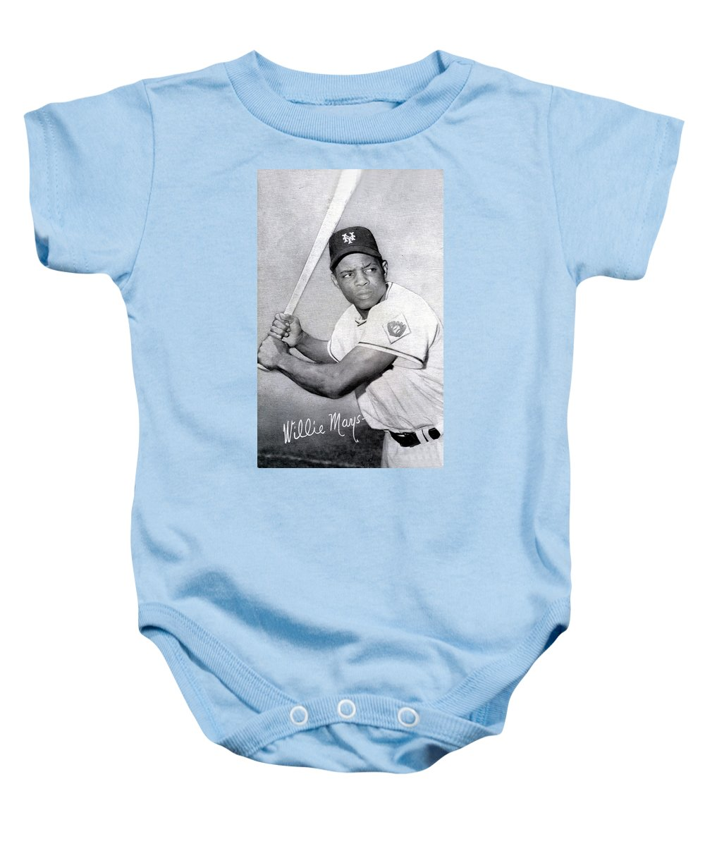 Willie Baby Onesie featuring the photograph Willie Mays Poster by Gianfranco Weiss