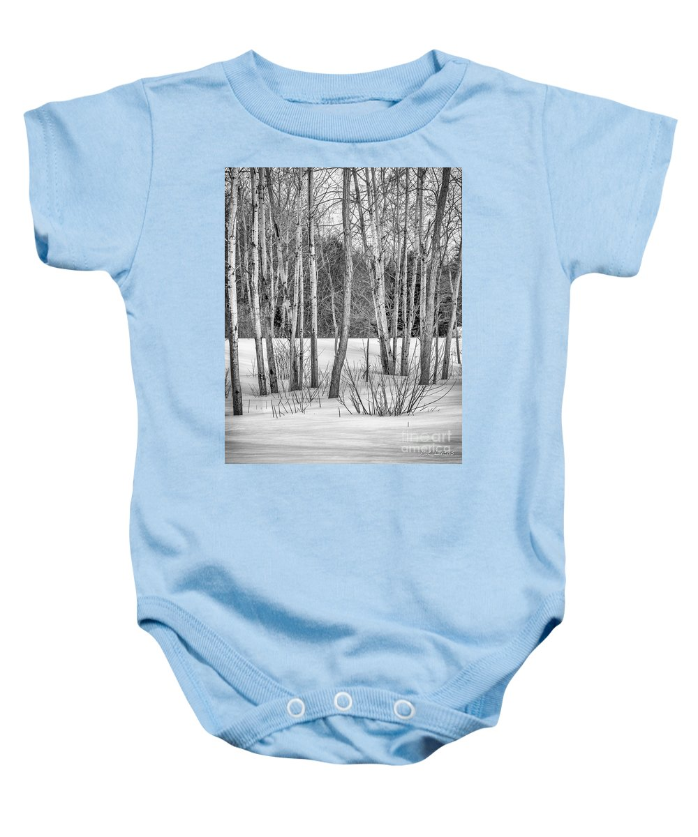 Black Baby Onesie featuring the photograph Winter Birches by Pat Lucas