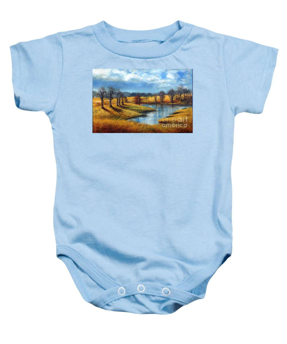 Tennessee Baby Onesie featuring the painting Winter In Tennessee by Randy Burns