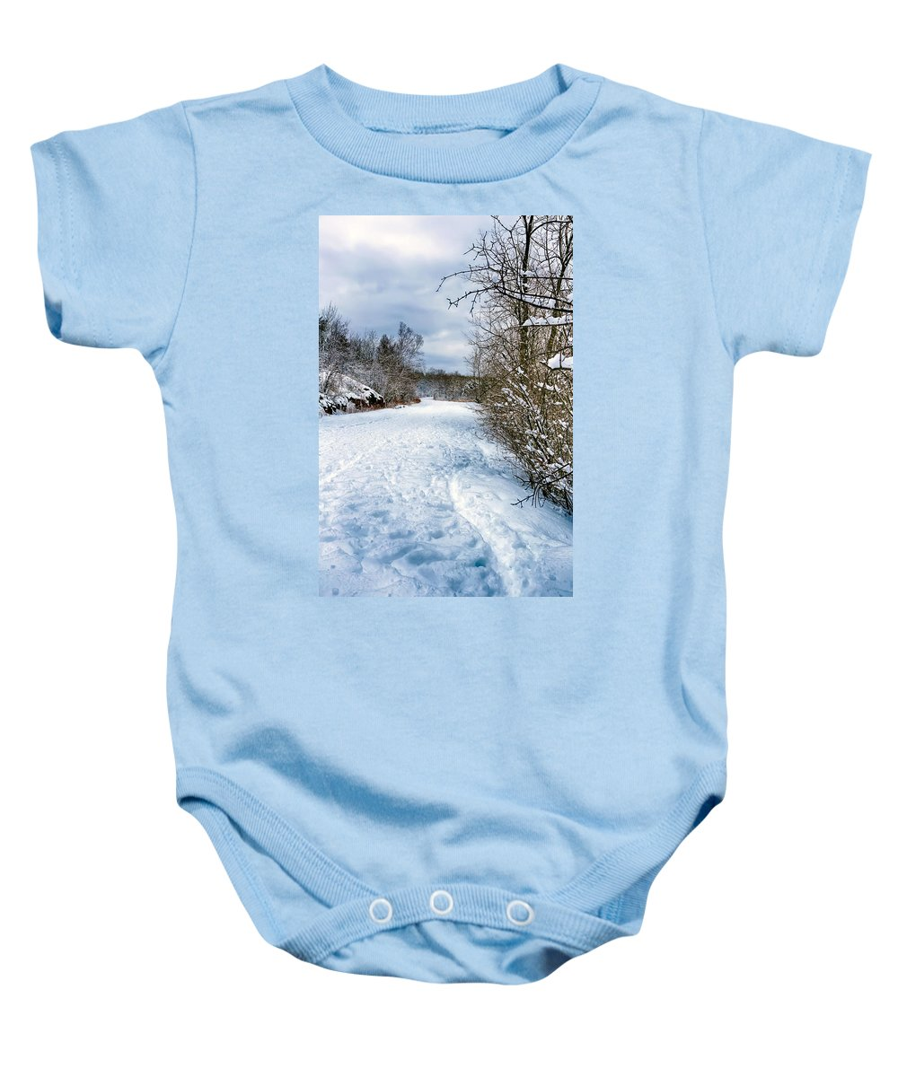 Winter Baby Onesie featuring the photograph Winter Road by Bryan Benson