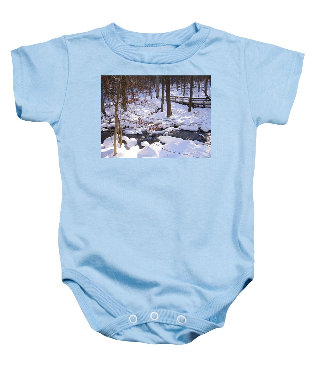 National Park Winter Beauty Stream Baby Onesie featuring the photograph Staying Power by Yow-Ning Chang