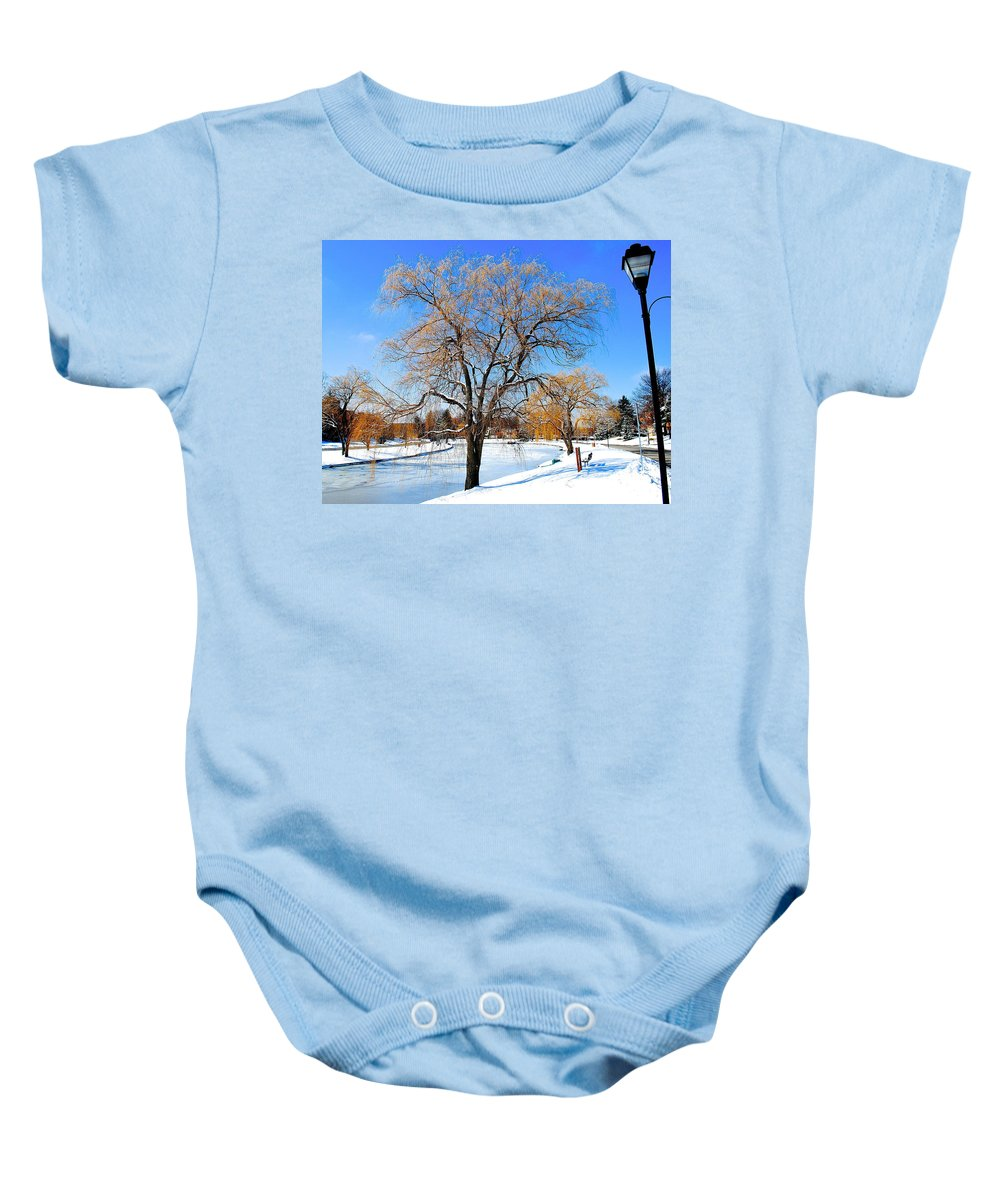 Willow Baby Onesie featuring the photograph Winter Willow by Frozen in Time Fine Art Photography