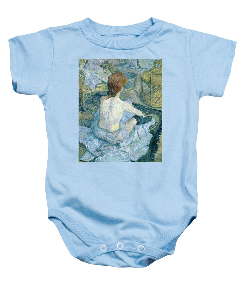 Woman At Her Toilet Baby Onesie featuring the painting Woman At Her Toilet, 1896 by Henri de Toulouse-Lautrec