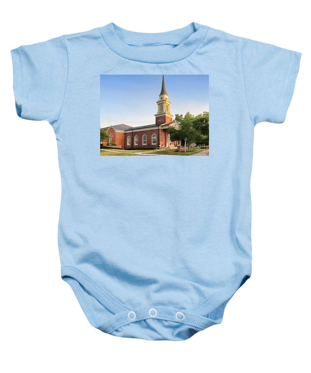 Worthington Presbyterian Church Baby Onesie featuring the photograph Worthington Presbyterian Church by Jack Schultz