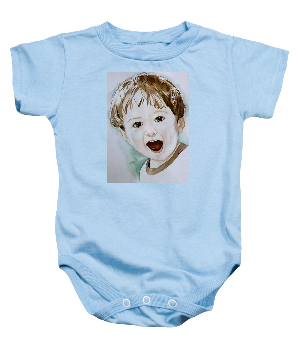 Little Boy Baby Onesie featuring the painting Wow by Michal Madison