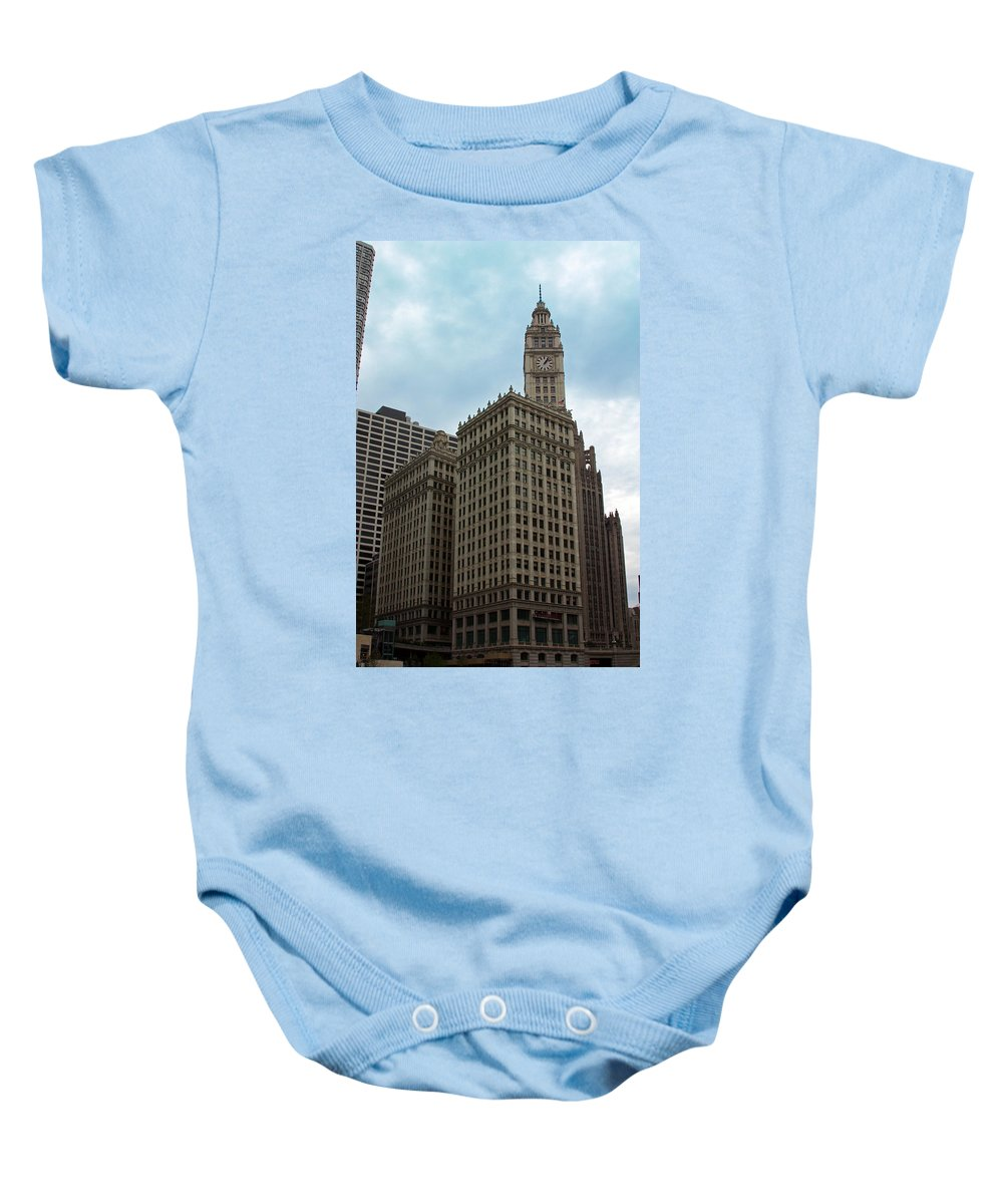 Wrigley Buidling Baby Onesie featuring the photograph Wrigley by Carolyn Stagger Cokley