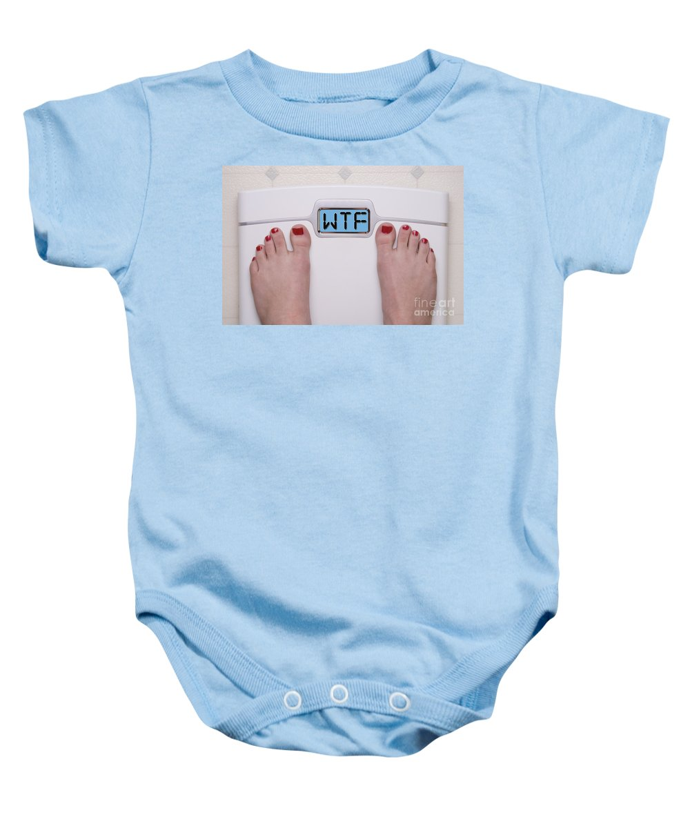 Wtf Baby Onesie featuring the photograph Wtf Scale by SAJE Photography