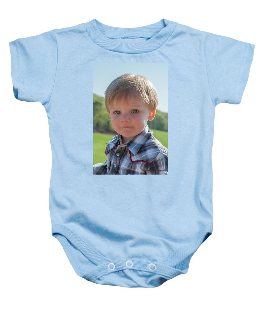 Baby Onesie featuring the photograph Wyatt Portrait 1 by Photos By Cassandra