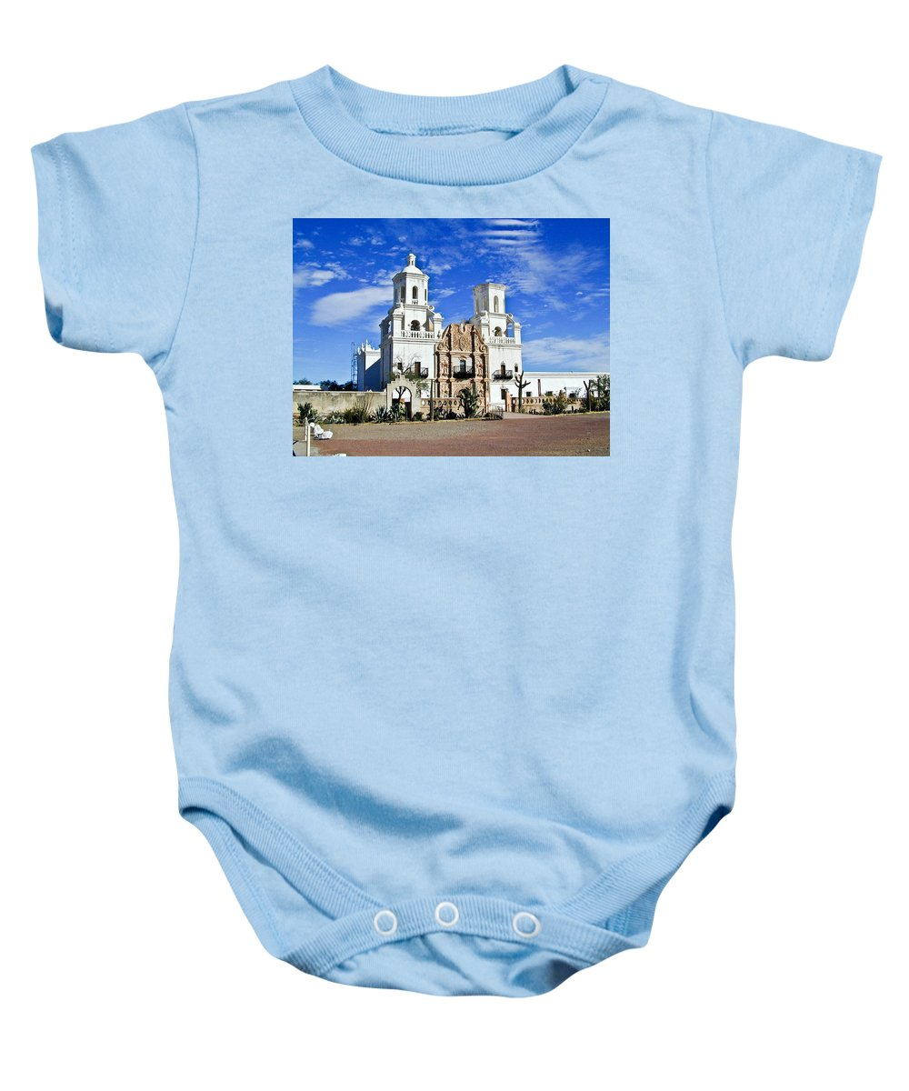 Mission San Xavier Del Bac Baby Onesie featuring the photograph Xavier Tucson Arizona by Douglas Barnett