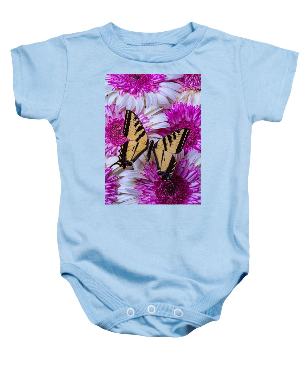 Yellow Baby Onesie featuring the photograph Yellow Butterfly Resting by Garry Gay