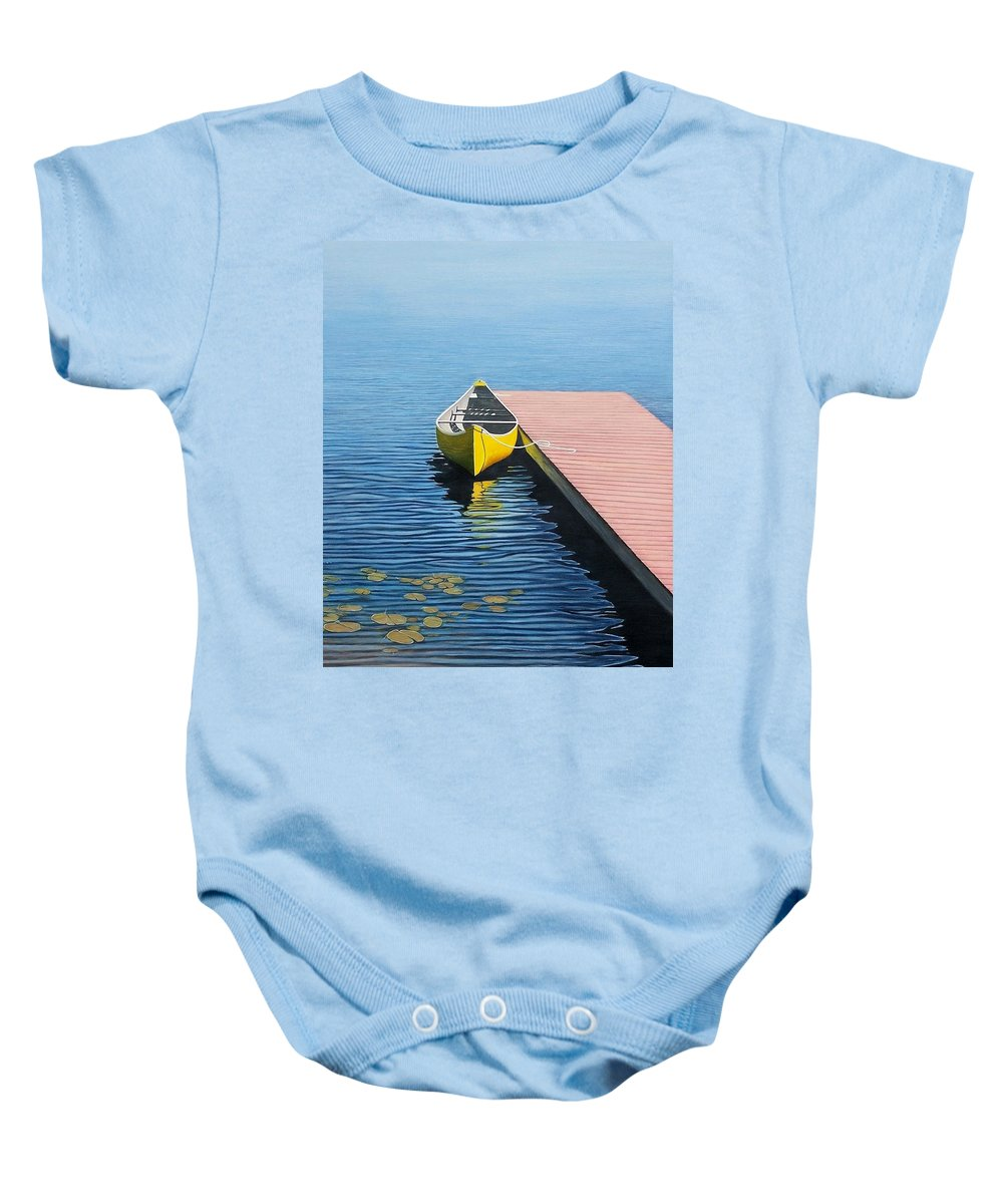 Landscape Paintings Baby Onesie featuring the painting Yellow Canoe by Kenneth M Kirsch