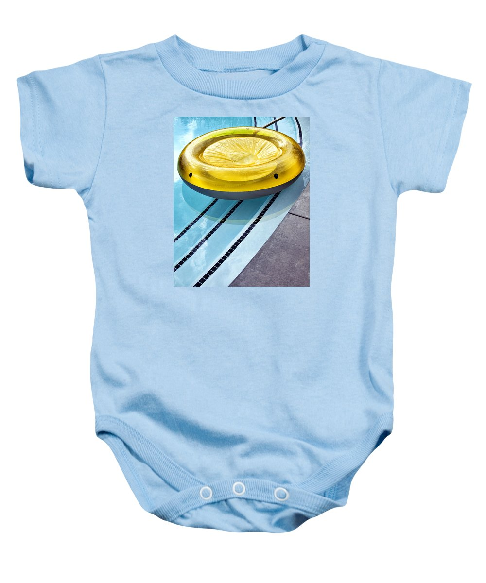 V Baby Onesie featuring the photograph Yellow Float Palm Springs by William Dey