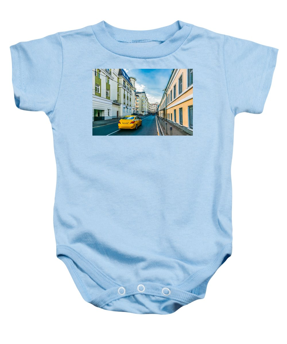 Moscow Baby Onesie featuring the photograph Yellow Taxi Of Moscow by Alexander Senin