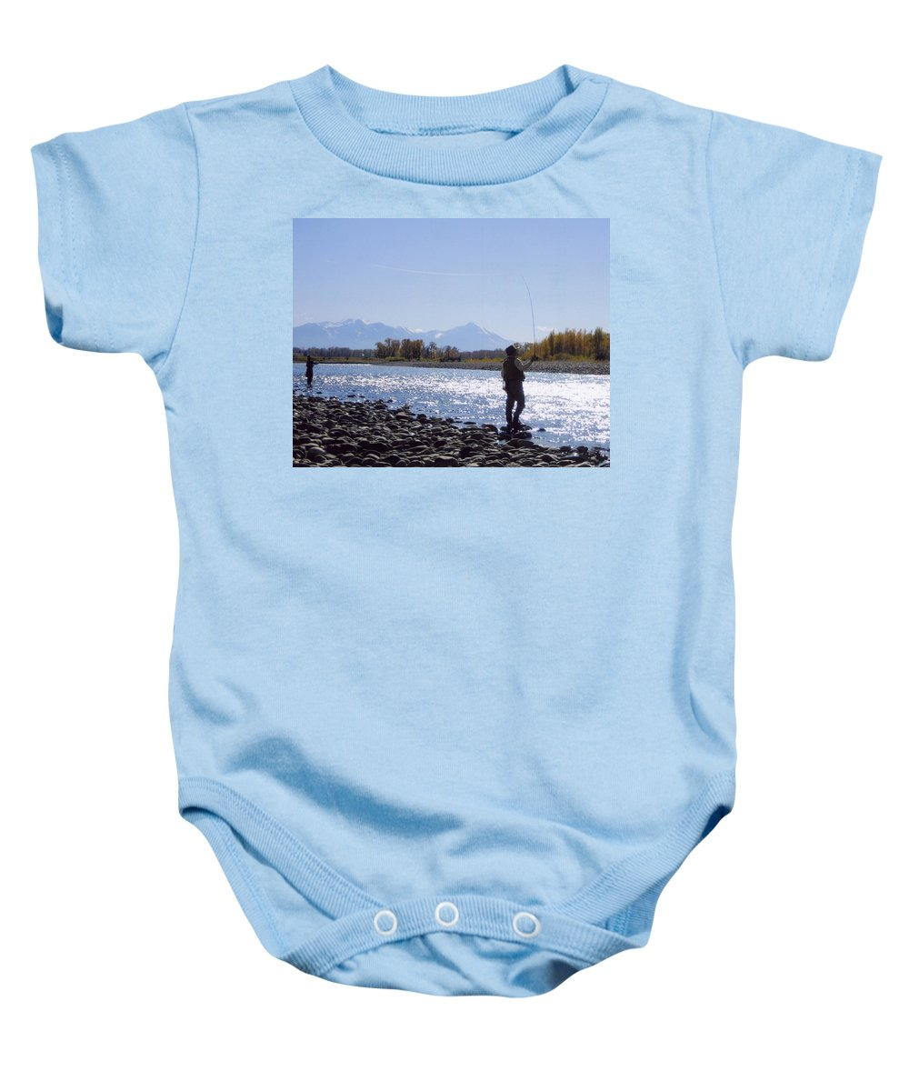 Montana Baby Onesie featuring the photograph Yellowstone River Fly Fishing by Jeffrey Akerson