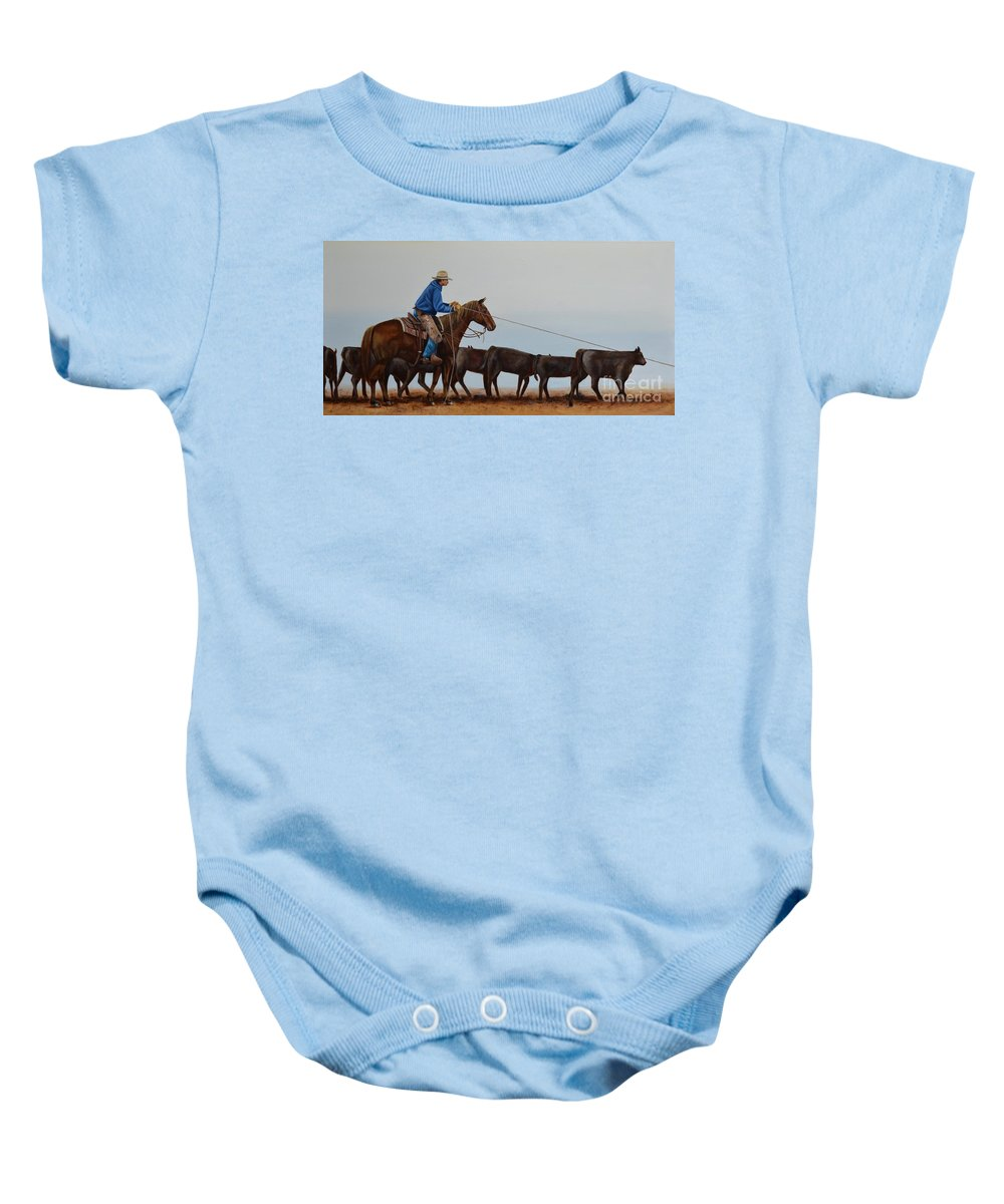 Art Baby Onesie featuring the painting You're Next by Mary Rogers