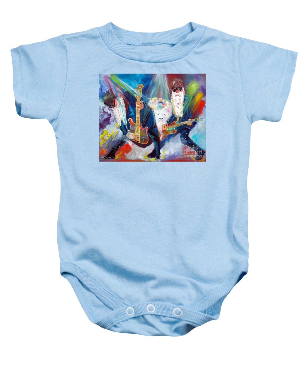 Zz Top Baby Onesie featuring the painting Z Z Top 4 by To-Tam Gerwe