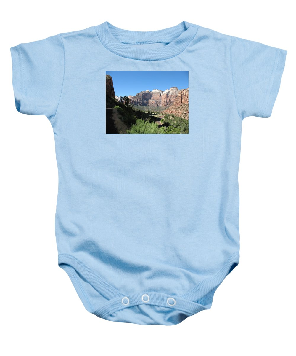 Moutains Baby Onesie featuring the photograph Zion Canyon View by Christiane Schulze Art And Photography