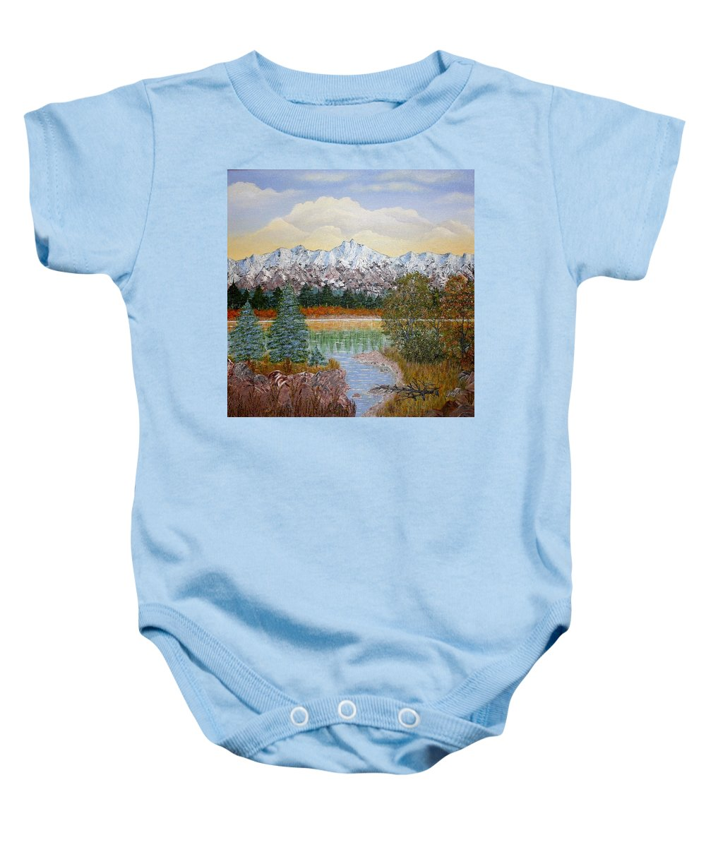 Landscape With Water Mountain Trees Baby Onesie featuring the painting Mountain Fall by Georgeta Blanaru