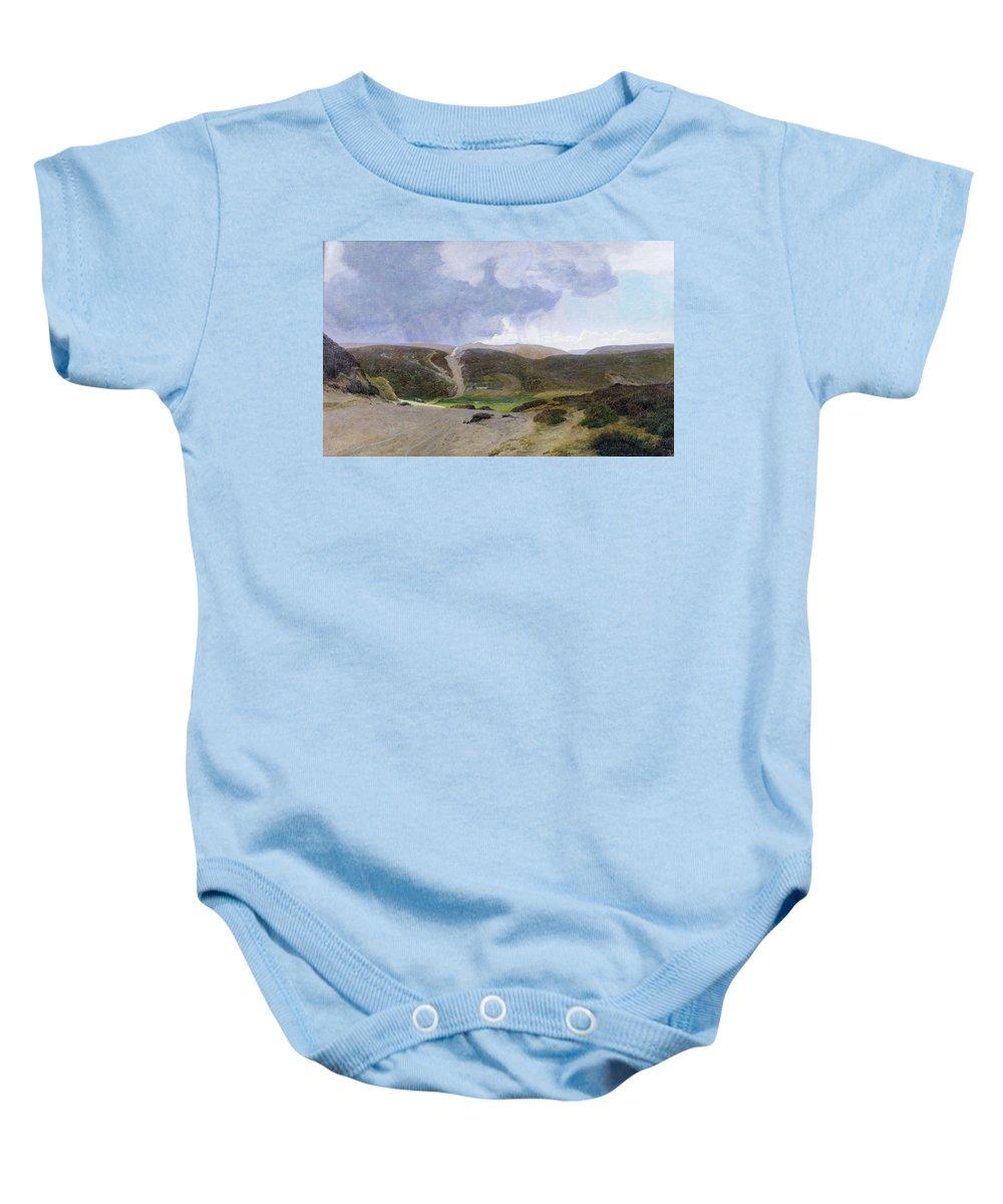 Mountain; Mountainous Baby Onesie featuring the painting Scandinavian Landscape by Janus la Cour