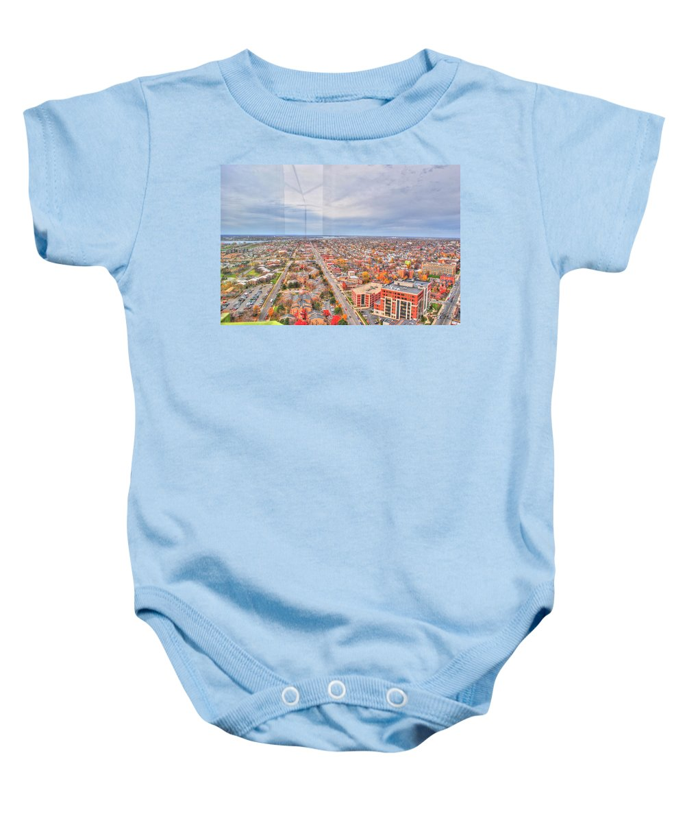 Baby Onesie featuring the photograph 031 Series Of Buffalo Ny Via Birds Eye West Side by Michael Frank Jr