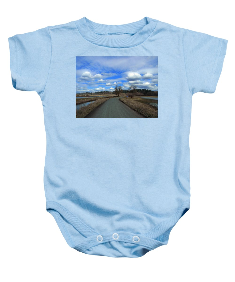 Landscape Baby Onesie featuring the photograph A Road View In Wildlife Refuge by Jessica Lee