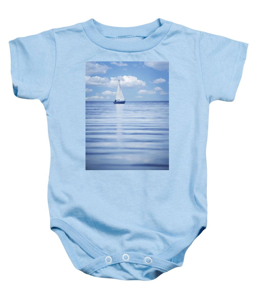 British Columbia Baby Onesie featuring the photograph A Sailboat by Kelly Redinger