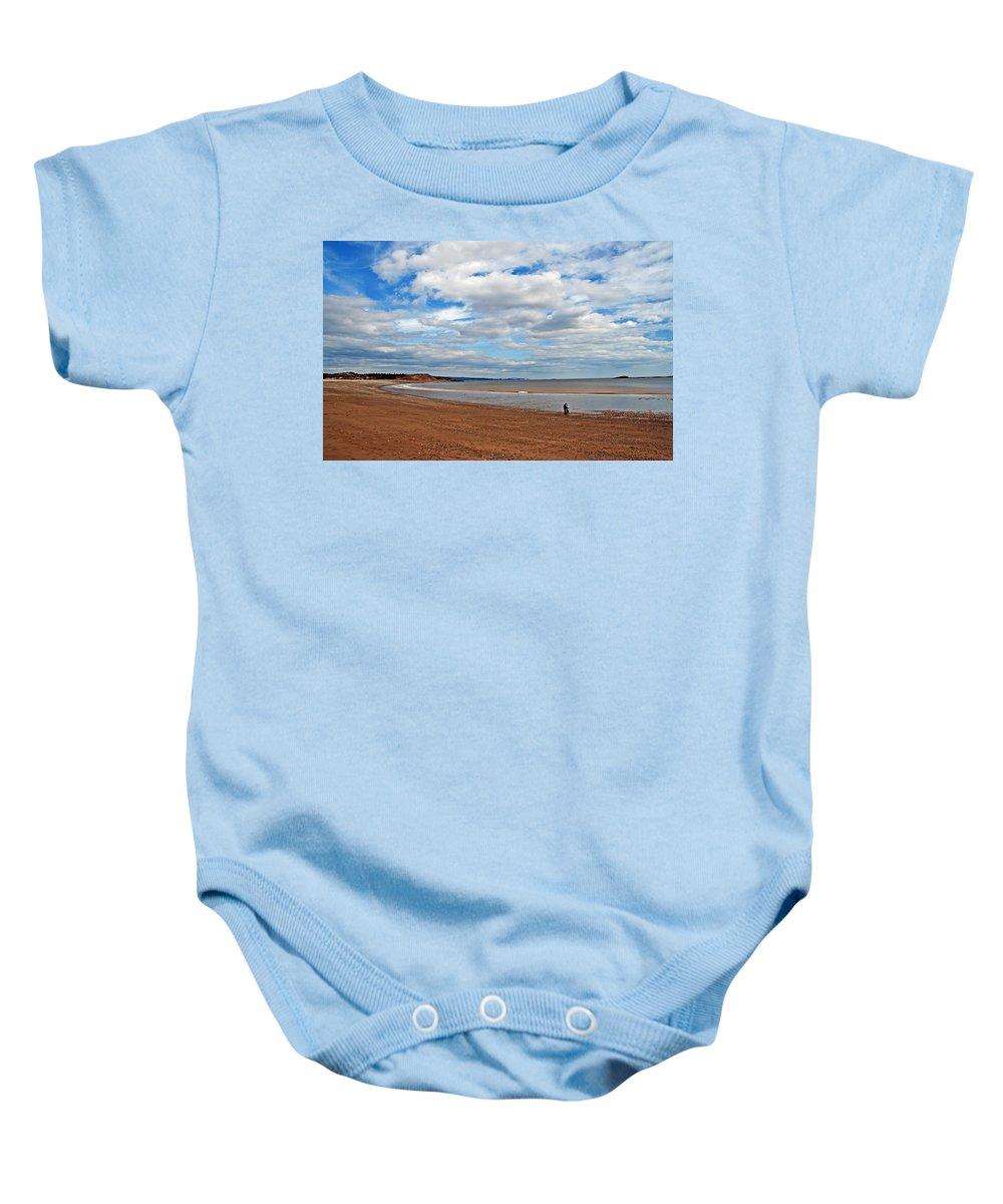 Beach Baby Onesie featuring the photograph A Walk On The Beach by Jeff Galbraith