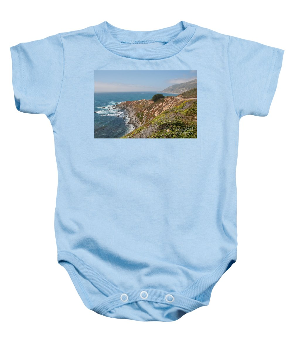 Beach Baby Onesie featuring the digital art Along Big Sur by Carol Ailles