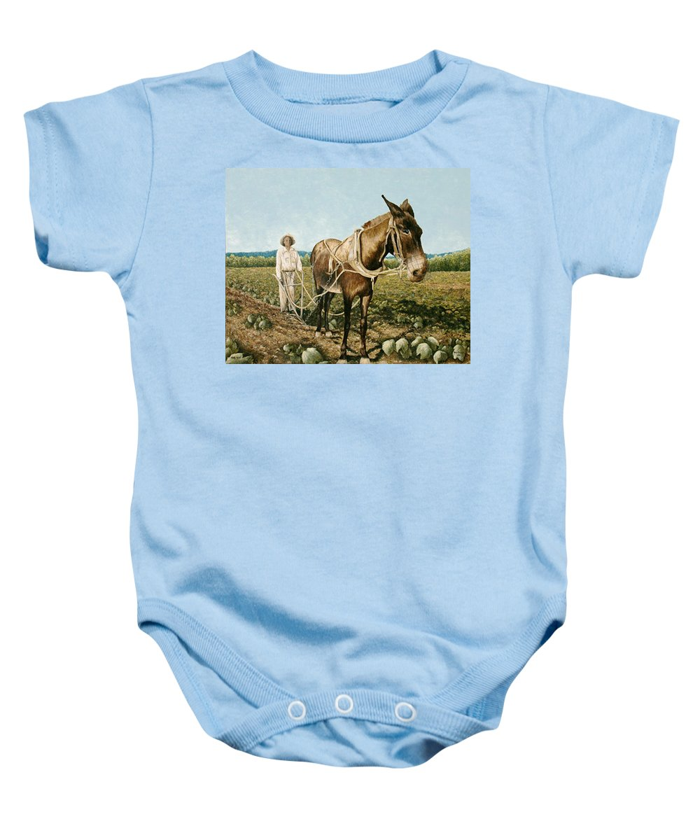 Mule Paintings Baby Onesie featuring the painting Clay Collins And Old Jake by Mary Ann King
