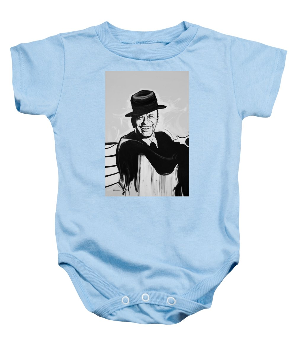 Frank Sinatra Baby Onesie featuring the photograph Frank In Black And White by Rob Hans