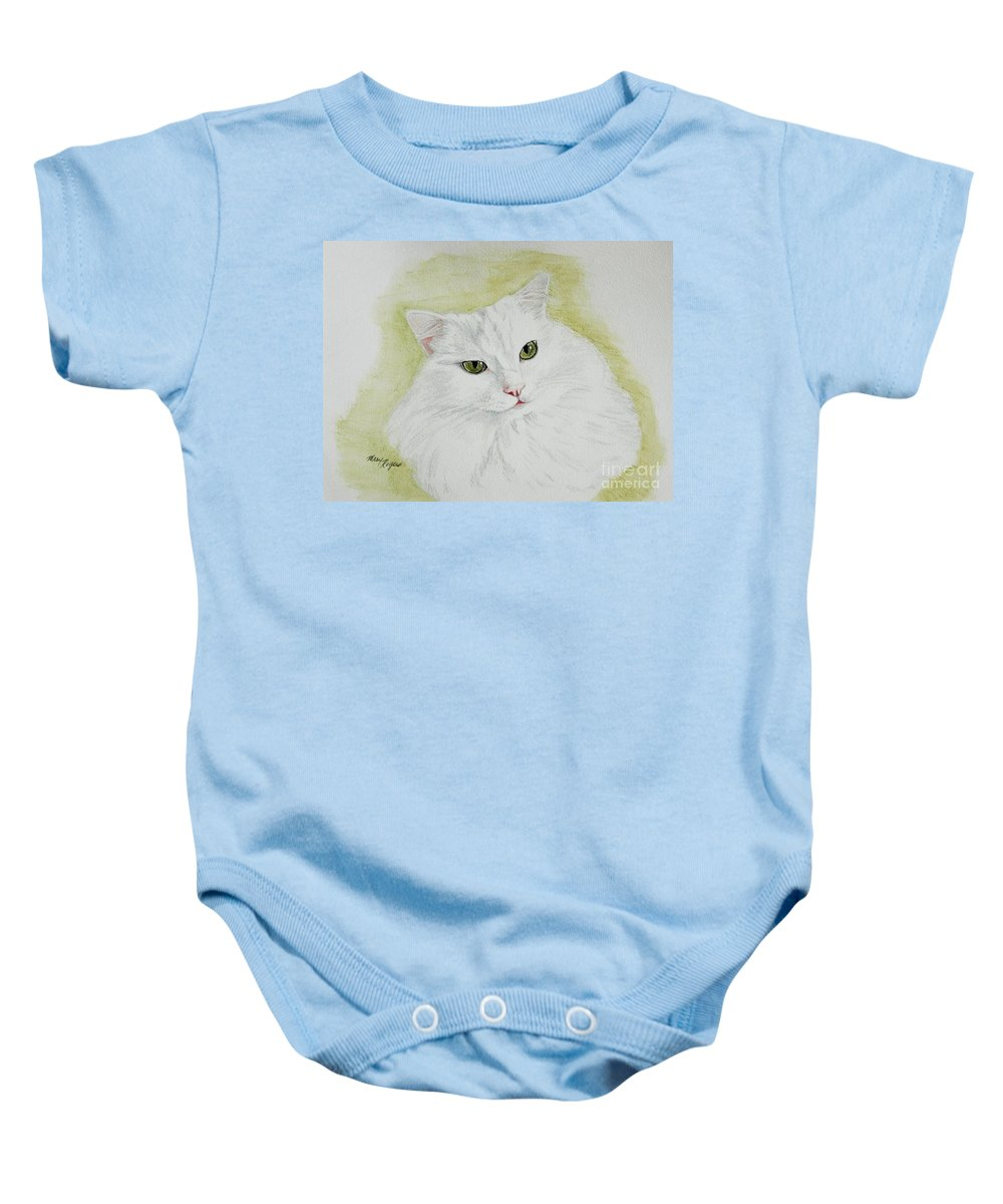Cat Baby Onesie featuring the painting Henri by Mary Rogers