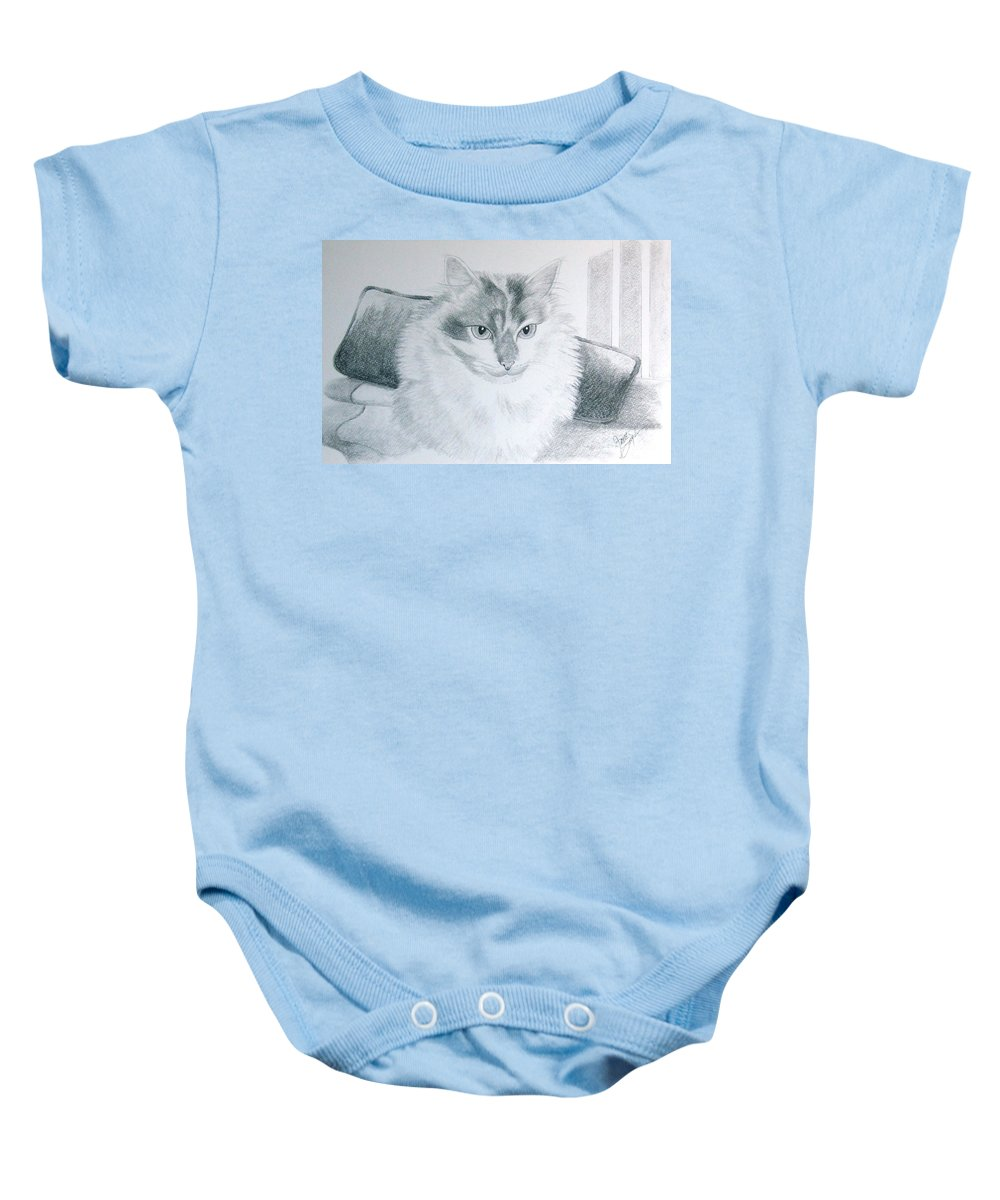 Pet Portrait Art Baby Onesie featuring the drawing Idget by Joette Snyder
