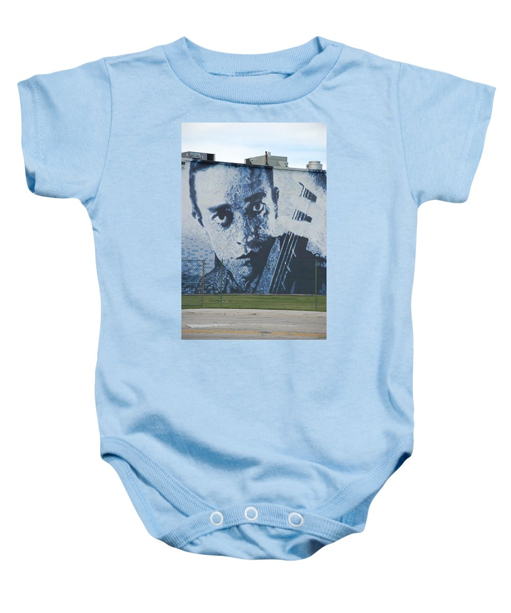 Johnny Cash Baby Onesie featuring the photograph Johnny Cash by Rob Hans