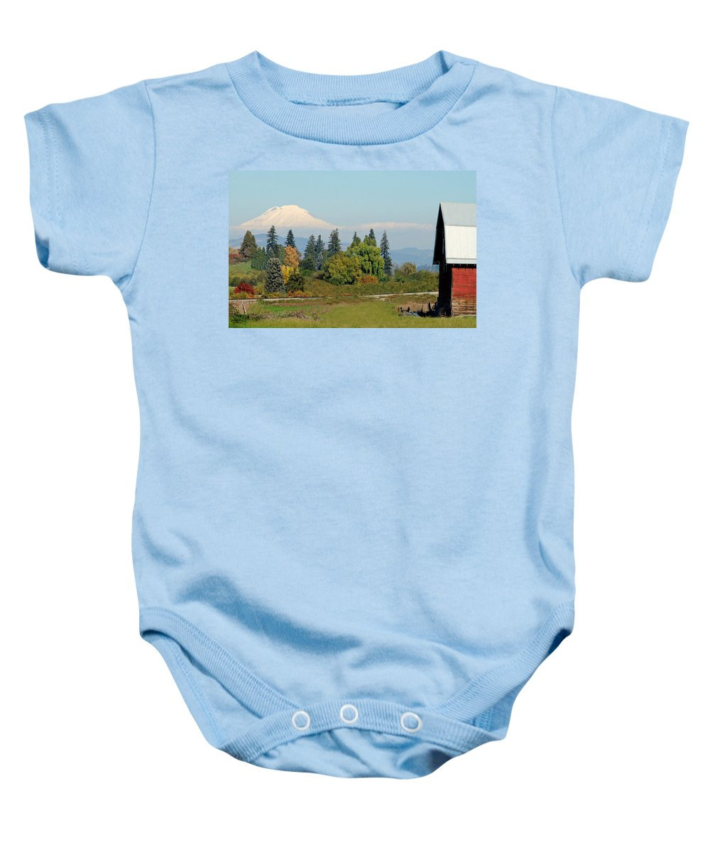 Mount Adams Baby Onesie featuring the photograph Mt. Adams In The Country by Athena Mckinzie